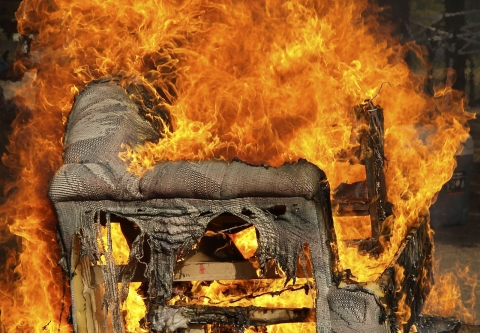 Couch on fire. Photo credit: Timothy Epp / Shutterstock